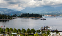 From the room's balcony in the Renaissance Vancouver Harbourside Hotel
